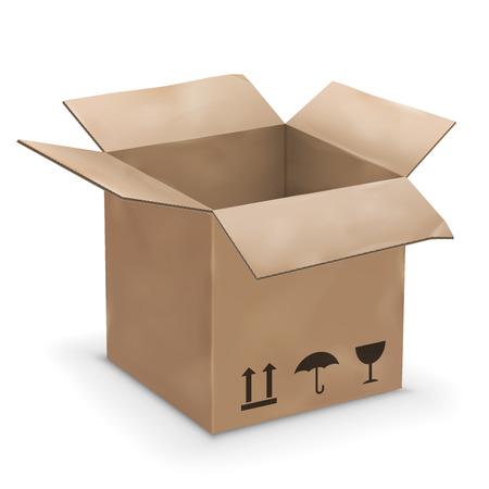 worn: Vector illustration of old worn opened cardboard box