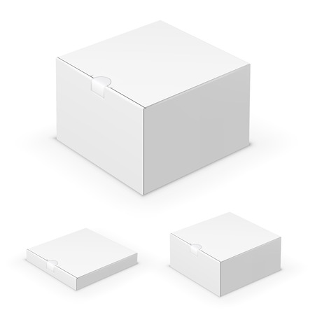Collection of flat short blank boxes  with cardboard lock. Vector template Stock Illustratie