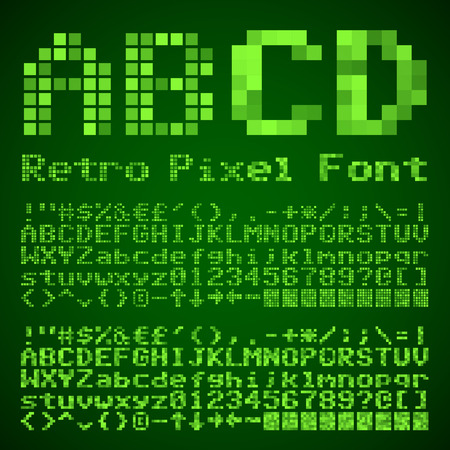 computer writing: Vector Vintage Pixelated Font. Retro style typeset with two styles Illustration