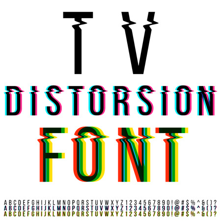 distorted: Tv distortion font, three version with color aberration. Vector