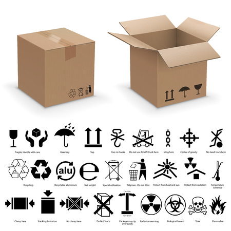 Set of packing symbols with two realistic cardboard boxes