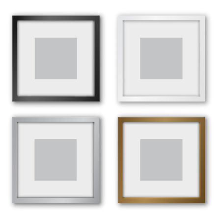 simple frame: Square Format  Black, Silver and Gold Frames Design with Thin Borders. Vector illustration.