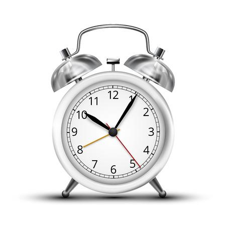 analog dial: Realistic white metall alarm clocks.  Vector illustration on white background