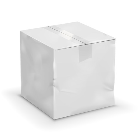 bruised: Old cardboard worn taped up white box, vector illustration Illustration
