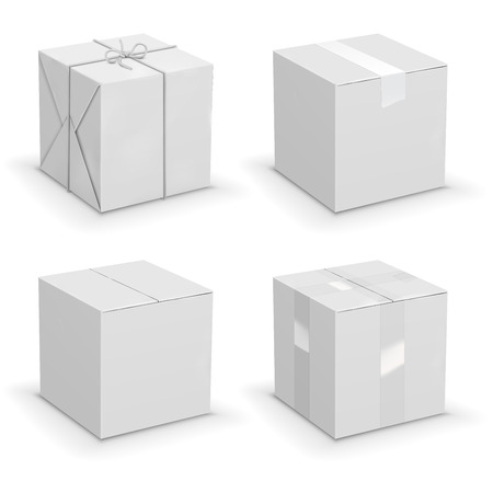 isolated: New white cardboard boxes wrapped in paper. Vector illustration set
