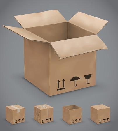 threadbare: Aperto e chiuso vecchie, usurate e nuove scatole di cartone. Illustrazione vettoriale set
