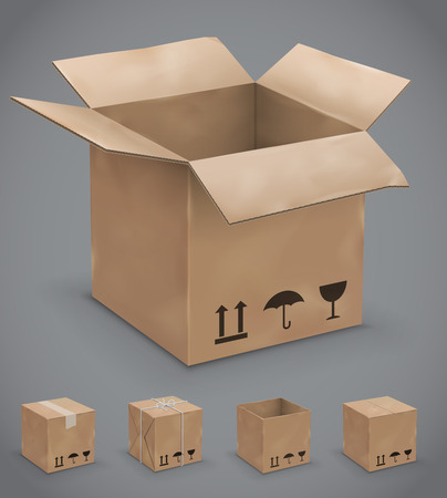 glued: Opened and closed old, worn and new cardboard boxes. Vector illustration set Illustration