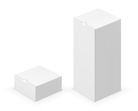 ebox: Vector white tall folded box with lock design template. Illustration on white background Illustration