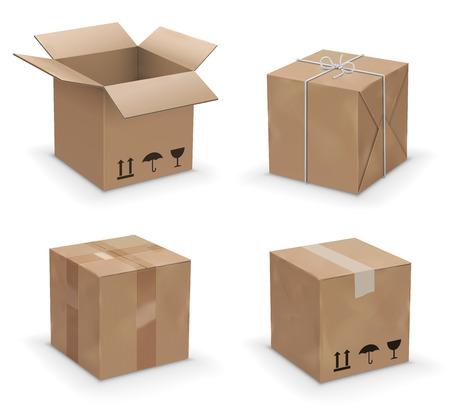 cajas de carton: Conjunto de caja de embalaje de color amarillo marrón de reciclaje. ilustración vectorial