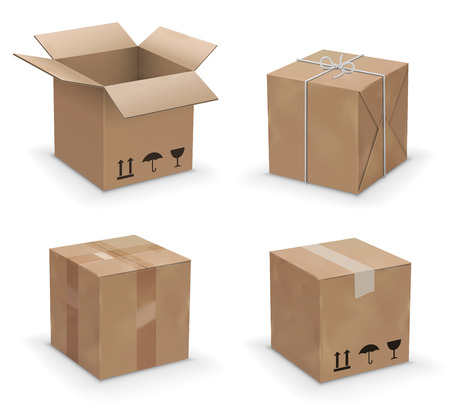 Set van recycle bruin geel box verpakking. vector illustratie Stock Illustratie