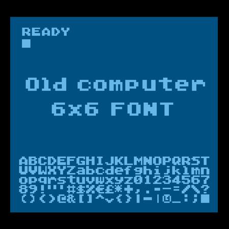 display type: Old computer pixelate font. 6x6 pixels glyphs charset, bold style vector set. Illustration