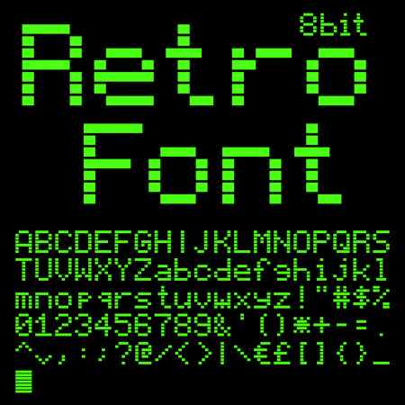 crt: Old computer pixel interlaced font. like on green monitor 5x7 pixels glyphs charset, bold style vector set.
