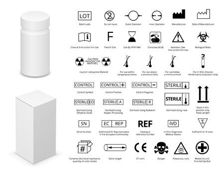 Vector Set of International Medical Package Symbols  and Medicine Bottle with Cardboard Package.
