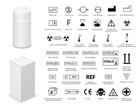 corrosive: Vector Set of International Medical Package Symbols  and Medicine Bottle with Cardboard Package.