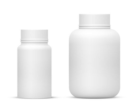 Vector Blank Big Size Plastic Packaging Bottles with Cap for Cosmetics, Vitamins, Pills or Capsules Imagens - 42570617