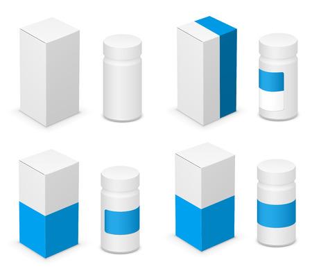 Blue and blank white design medicine bottle and cardboard packaging for pills. Vector illustration Illustration