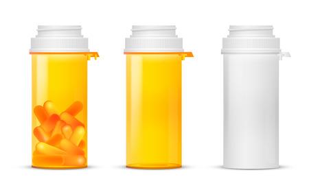 botellas vacias: Frascos de medicinas con receta vacía y con las drogas, el plástico de color amarillo y blanco. Ilustración vectorial