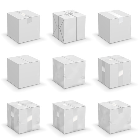 brand new: Vector set of 9 different cardboard  boxes, old, worn and brand new Illustration