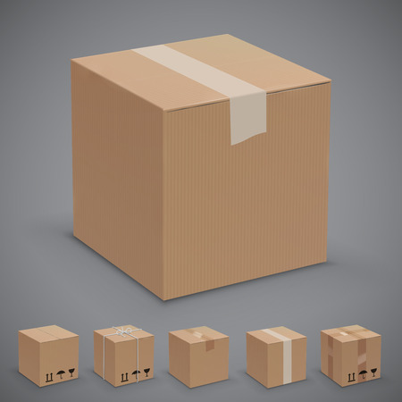 Old, worn and new cardboard boxes. Vector illustration set