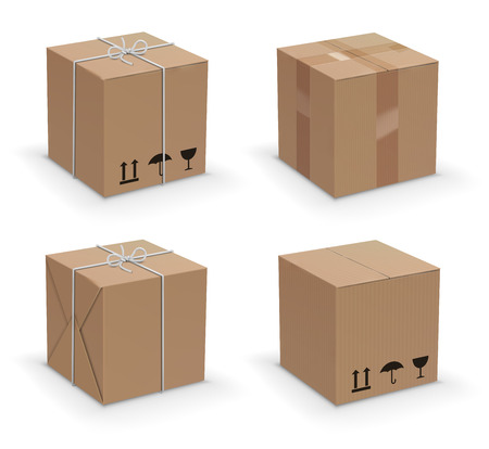 corrugated cardboard: Closed and taped up and warped cardboard boxes. Vector illustration