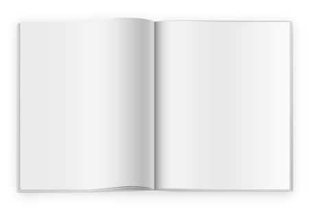 Blank opened magazine or notepad template on white background. Realistic vecotr