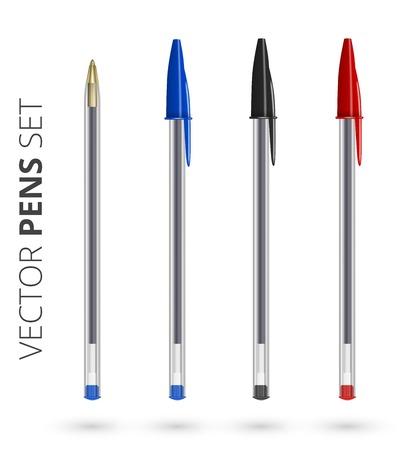 Pens set, isolated on white. Vector illustration