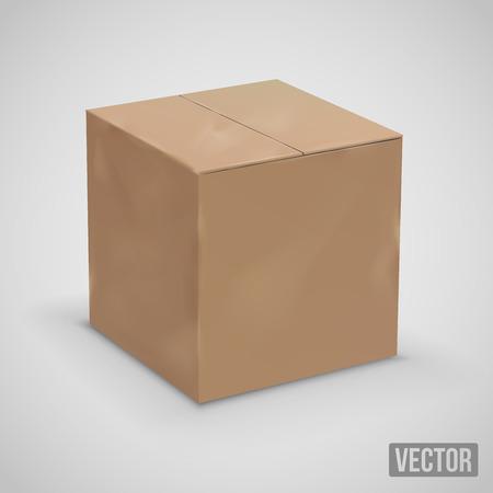 Vieux, usés boîte de placard front de carton. Vector illustration