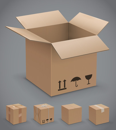 stockpile: Cardboard box, vector icons Illustration