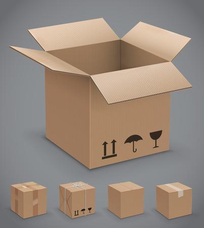 Kartonnen doos, vector iconen Stock Illustratie