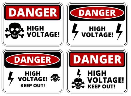 Set of danger High voltage signs, four designs, a4 proportions, vector illustration