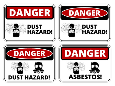 HAZARD SIGNS: Set of danger Dust Hazard signs, four designs, a4 proportions, vector illustration