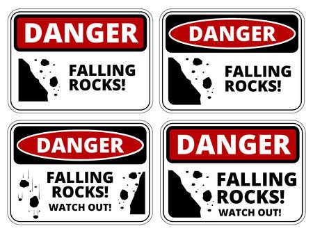 mountin: Set of danger Falling rocks signs, four designs, a4 proportions, vector illustration Illustration