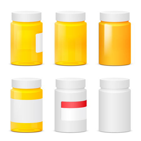 remedies: Many yellow plastic medicine bottles. Realistic vector illustration Illustration