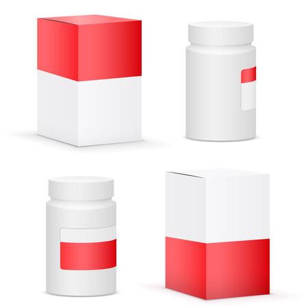 red box: Red design medicine bottle and cardboard packaging for pills. Vector illustration Illustration