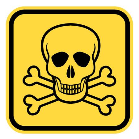 skull and crossed bones: S�mbolos de peligro letal, EPS8 - se�al de advertencia amarillo con cr�neo y huesos cruzados Vector