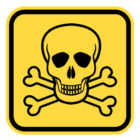 lethal: Vector warning yellow road sign with skull and crossed bones - symbols of lethal danger, EPS8