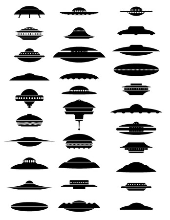 space station: UFO, aliens space ships and orbital station vector EPS8 collection Illustration