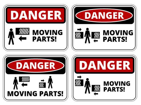 peligro: Conjunto de peligro Mudanza signos Piezas, cuatro dise�os, proporciones a4, ilustraci�n vectorial Vectores