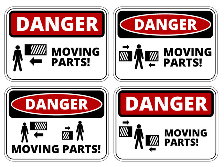 dangerous construction: Set of danger Moving Parts signs, four designs, a4 proportions, vector illustration