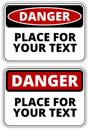 construction safety: Danger  sign template with A4 format proportion. Two red, black and white colored design. Vector Illustration