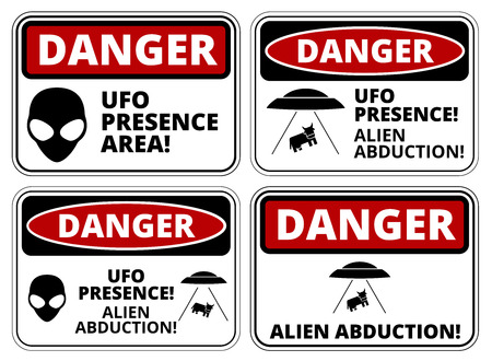 Set of Danger signs for UFO, aliens abduction theme, vector illustration
