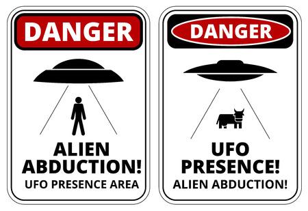 panneaux danger: Ensemble de signes de danger pour UFO, th�me des enl�vements extraterrestres, illustration vectorielle Illustration