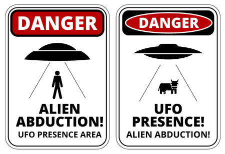 abduction: Set of Danger signs for UFO, aliens abduction theme, vector illustration