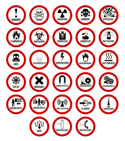 Set of danger restricted and hazards signs icon,  vector