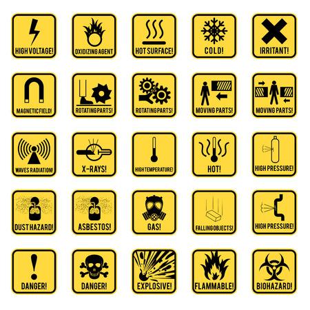 Set van gevaar beperkt en gevaren tekens pictogram, vector illustratie Stock Illustratie