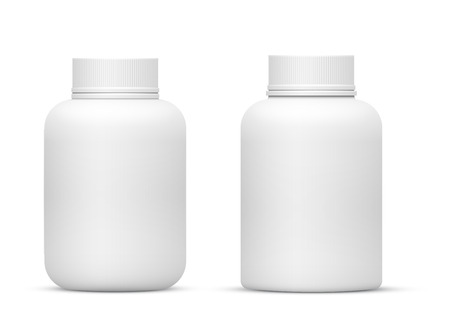Vector Blank Big Size Plastic Packaging Bottles with Cap for Cosmetics, Vitamins, Pills or Capsules