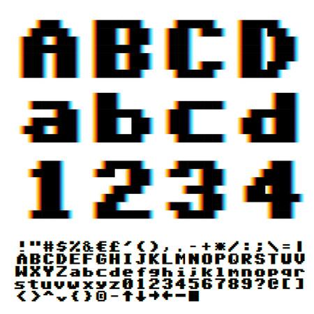 chromatique: Pixelate ancienne police de style de jeu avec chromatique bleu-jaune effet des aberrations. Vecteur linotyp�e