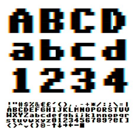 chromatic: Pixelate old game style font with chromatic blue-yellow aberrations effect. Vector typeset Illustration