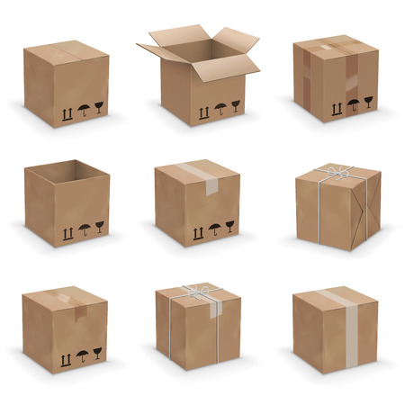 Opened and closed old, worn and new cardboard boxes. Vector illustration set Иллюстрация