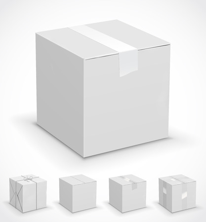 packer: New white cardboard boxes wrapped in paper. Vector illustration set